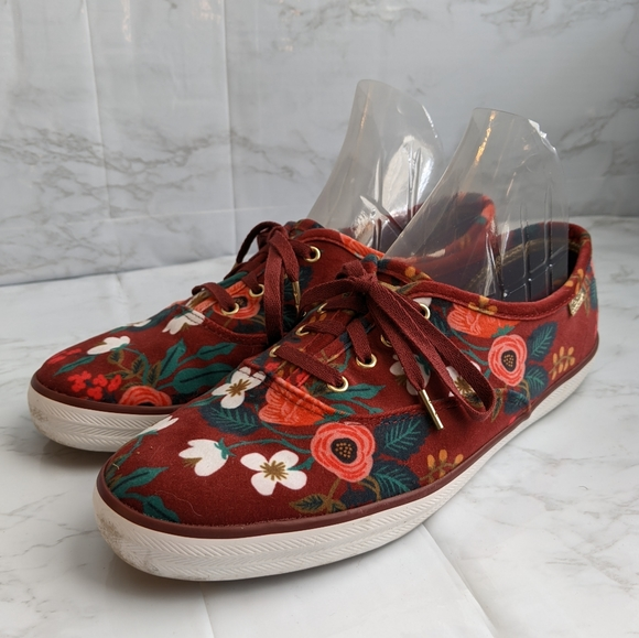 Burgundy floral Rifle Paper Co Keds